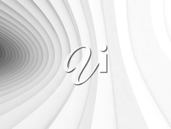 Abstract white geometric digital background with bent vortex tunnel interior, 3d illustration