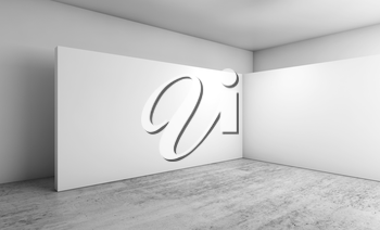 Abstract empty interior, white walls installation on concrete floor, contemporary architecture design. 3d illustration