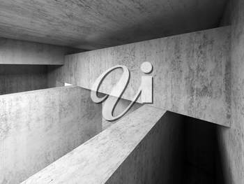 Abstract empty room concrete interior, walls and girders, 3d render illustration
