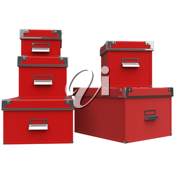 Boxes are arranged one above the other, small, medium, large. Closing the lid in boxes with handles. 3D graphic object on white background isolated