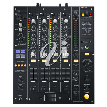 Black digital dj mixer. Beat colour effect. 3D graphic