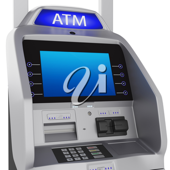 Bank terminal. Modern style on a white background. ATM cash terminal with display