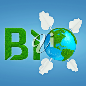Stylized interpretation of the logo Bio Planet, with Earth thumbnail instead of letter O, which is decorated with cartoonish grass and trees