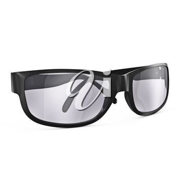 Sunglasses with black frames isolated on white background