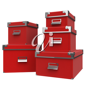 Boxes red. Metal chrome handles. corners with metal rivets. 3D graphic object on white background isolated