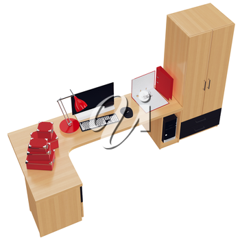Fully packaged working place with tech and office stuff. 3d graphic object on white background isolated