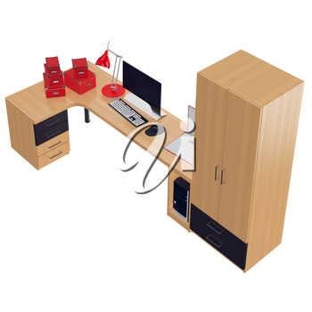 Red colored office utilitarian accessories as paper boxes, folders and lamp with black and white colored monitor. 3d graphic object on white background isolated