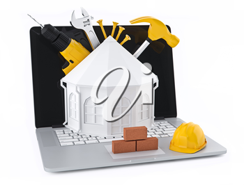 House design using a computer. On the laptop home white background