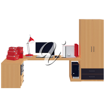 Red colored office utilitarian accessories in red colors such as paper boxes, folders and lamp with black and white colored monitor. 3d graphic object on white background isolated