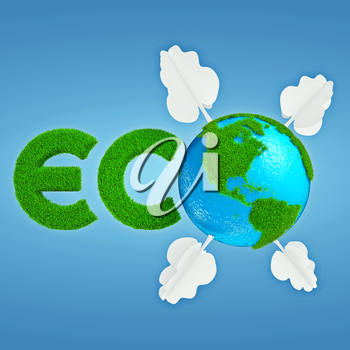 Stylized interpretation of the logo Eco Planet with continents of cartoonish grass and trees out of paper
