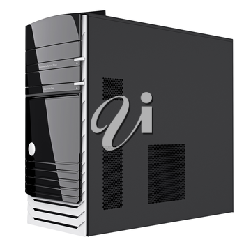 Gaming PC case with ventilation holes on black steel side panel. 3d graphic object on white background isolated