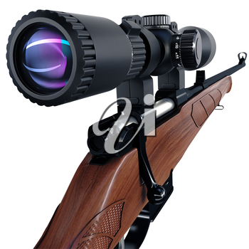 Back view on sniper scope of a rifle