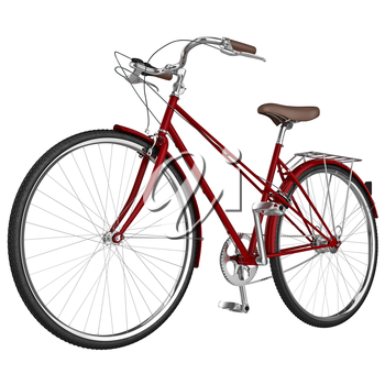 Classic vinous bike frame with chrome pedals isolated. 3D graphic object on white background isolated