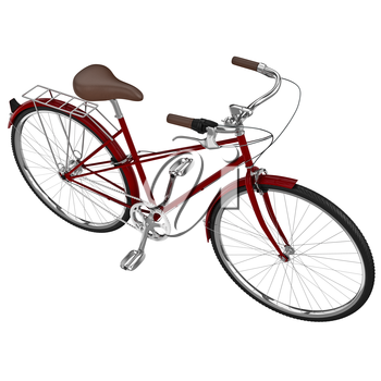 Vintage womens bike with a leather seat and studded tires. 3D graphic object on white background isolated