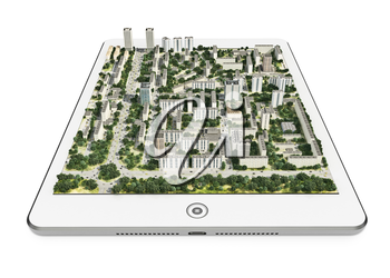 Mobile navigation device with 3d city map on white background