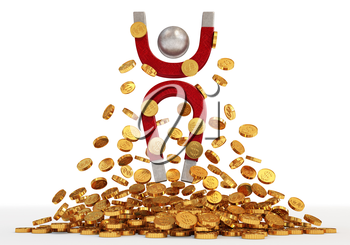 A lot of money. Magnet and money. 3d visualization