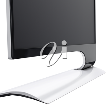 Close-up shot on high resolution monitor black and white colored and in modern design. 3d graphic object on white background isolated