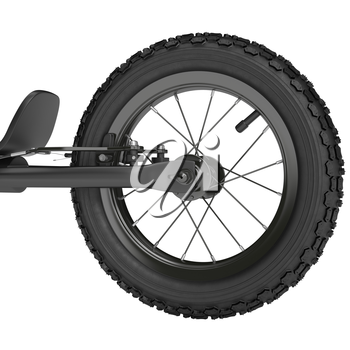 Rear wheel scooter with brake system on a white background
