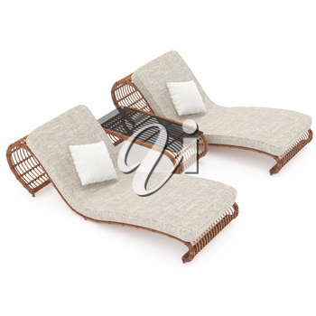 Rattan modern furniture isolated on a white background for your comfort. 3D graphics
