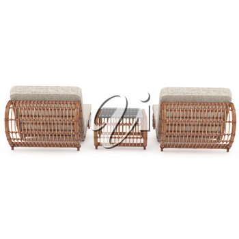 Wooden stylish rattan furniture for outdoor use on a white background. 3D graphics