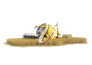 combine-harvester on isolated field, agronomic illustration on white