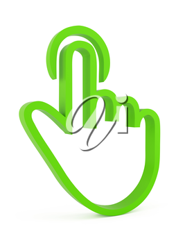 Touch icon, 3d green finger on white background