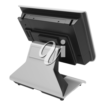 Table ATM terminal with a large monitor on a white background. Display retsepshona