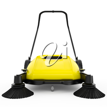 Sweeper with black plastic and yellow metal on a white isolated background