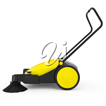 Sweeper with a long handle on a white isolated background. Most sweeper