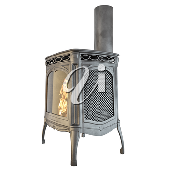 Modern fireplace with a chimney and fire on a white background isolated. 3D graphics