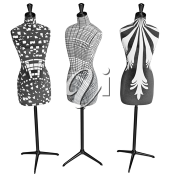 Patterned female mannequins on glossy metal stand. 3D graphic object on white background isolated