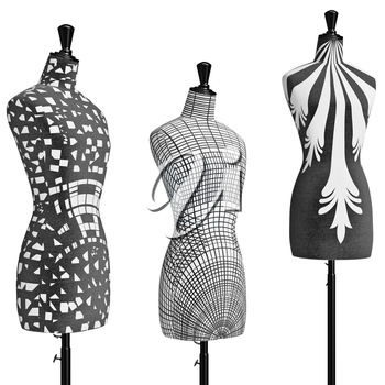 Female mannequins on tripod with monochrome ornament, close view. 3D graphic object on white background