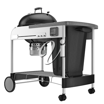 Grilling with charcoal container. 3D graphic object on white background isolated