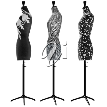 Female mannequins with black and white ornaments, side view. 3D graphic object on white background isolated