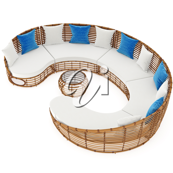 Long sofa with rattan and cushions. 3D graphic object on white background isolated