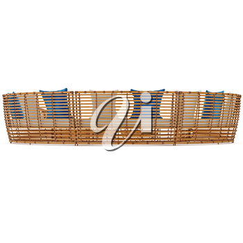 Large rattan sofa, back view. 3D graphic object on white background isolated
