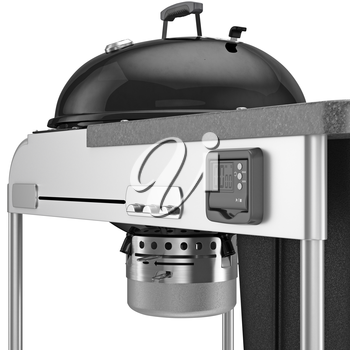 The charcoal grill with an electronic timer and chrome plating elements, close view. 3D graphic object on white background