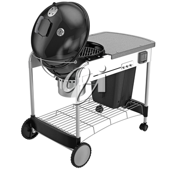 Metal grill on wheels with a hinged lid of the boiler. 3D graphic object on white background isolated