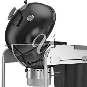 Grill with a temperature sensor, close view. 3D graphic object on white background