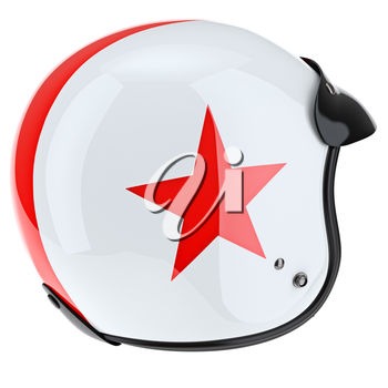 White sport helmet with red asterisk. 3D graphic object on white background isolated