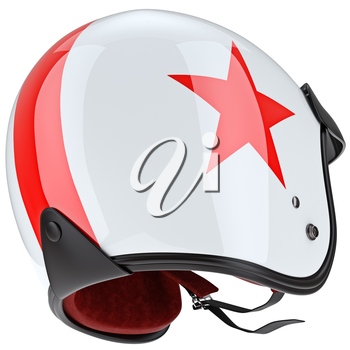 Sports helmet mount and some of the elements chromium plating. 3D graphic object on white background isolated