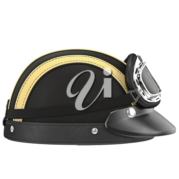 Motorcycle helmet with goggles, side view of chrome plating rivets. 3D graphic object on white background isolated
