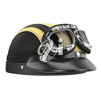 Leather motorcycle helmet with goggles. 3D graphic object on white background isolated