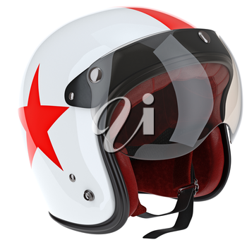 Motorcycle helmets with ed stripe. 3D graphic object on white background isolated