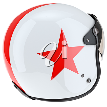 Protective helmet with red asterisk and rubber surround. 3D graphic object on white background isolated