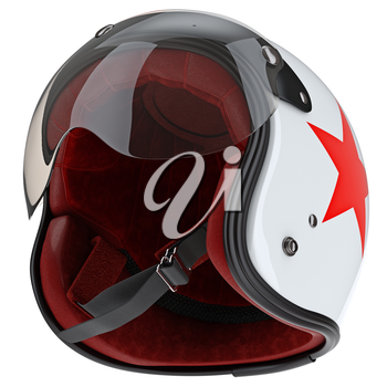 Internal filling helmet with glass. 3D graphic object on white background isolated
