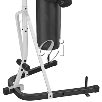 Boxing stand with some of elements, zoomed view. 3D graphic object on white background