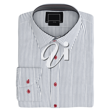 Classic men's shirt striped, top view. 3D graphic object on white background isolated