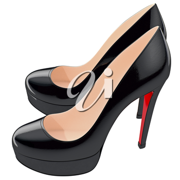 Women's black lackered shoes on high heels. 3D graphic object on white background isolated