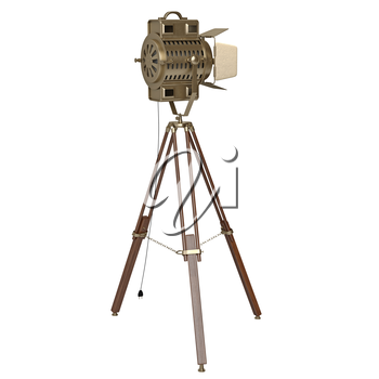 Studio spotlight with wooden tripod. 3D graphic object on white background isolated